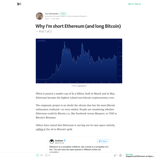 When it passed a market cap of $1.5 billion, both in March and in May, Ethereum became the highest valued non-bitcoin cryptocurrency ever. The enigmatic project is no doubt the altcoin that has the most Bitcoin enthusiasts confused-or even rattled. People are wondering whether Ethereum could be Bitcoin 2.0, like Facebook versus Myspace, or VHS to Bitcoin's Betamax.