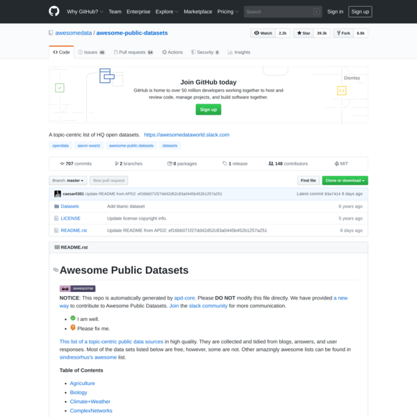 awesomedata/awesome-public-datasets