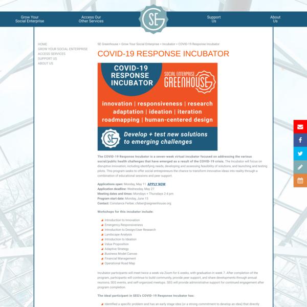 COVID-19 Response Incubator | SE Greenhouse