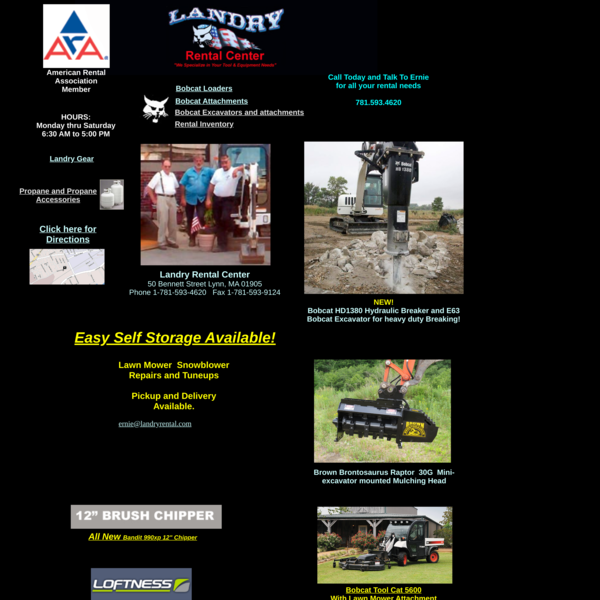 Landry Rental Center Home Page Propane, Product Recycler. 12″ chipper, Rotadairon rentals,
