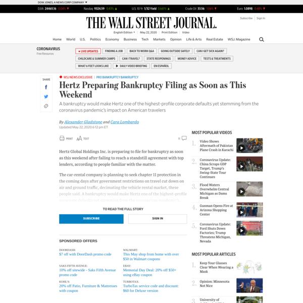 WSJ News Exclusive | Hertz Preparing Bankruptcy Filing as Soon as This Weekend