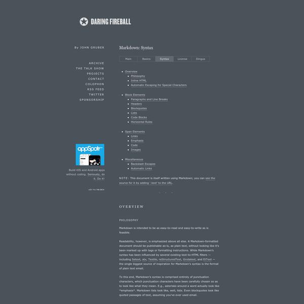 Daring Fireball: Markdown Syntax Documentation