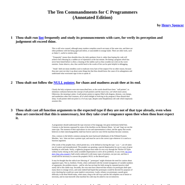 The Ten Commandments for C Programmers (Annotated Edition)