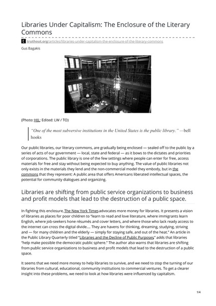 Libraries Under Capitalism: The Enclosure of the Literary Commons
