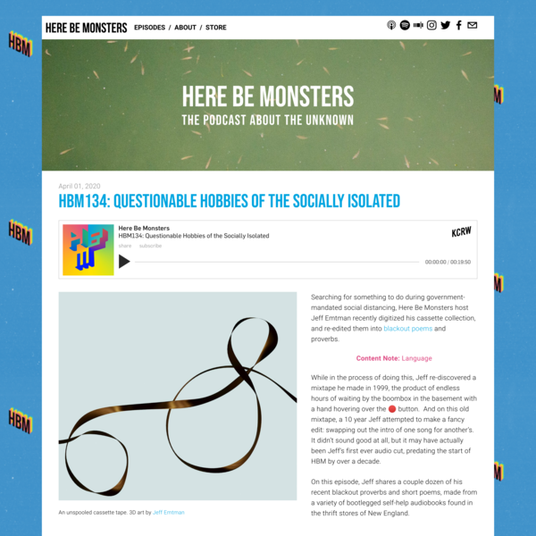 HBM134: Questionable Hobbies of the Socially Isolated — Here Be Monsters Podcast