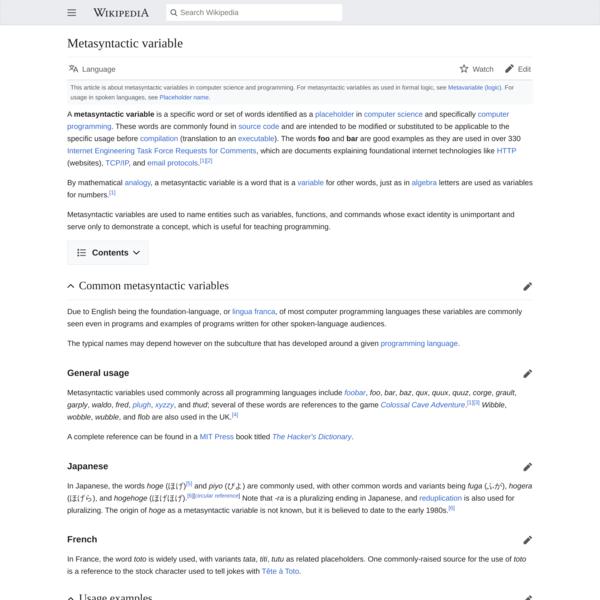 Metasyntactic variable - Wikipedia
