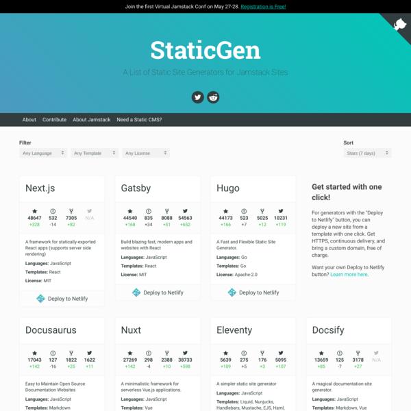 StaticGen | Top Open Source Static Site Generators