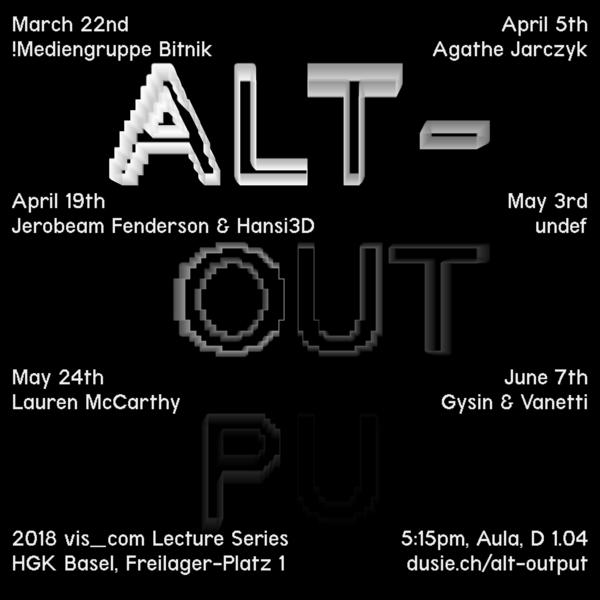 ALT-OUTPUT : 2018 vis_com Lecture Series
