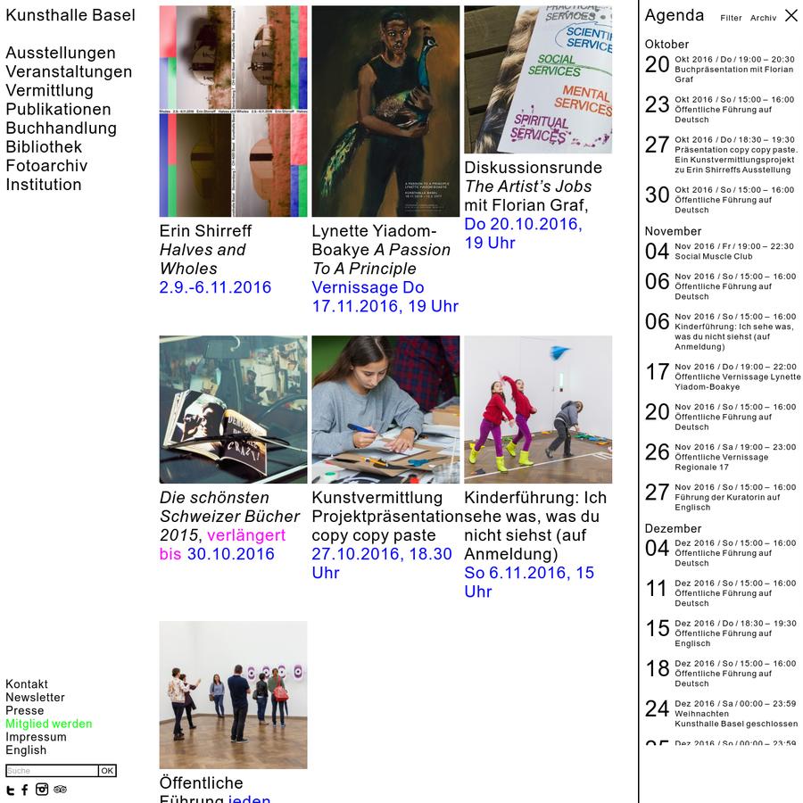 Seit 1872 gehört die Kunsthalle Basel zu den weltweit renommiertesten und aktivsten öffentlichen Institutionen für zeitgenössische Kunst.