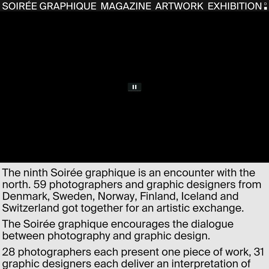 (D) Die neunte Soirée graphique ist eine Begegnung mit dem Norden. 9. September 2016 von 18.00 - 22.00 Uhr. KOMET, Uferweg 15, 3015 Bern.