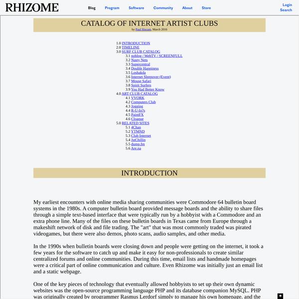 Catalog of Internet Artist Clubs
