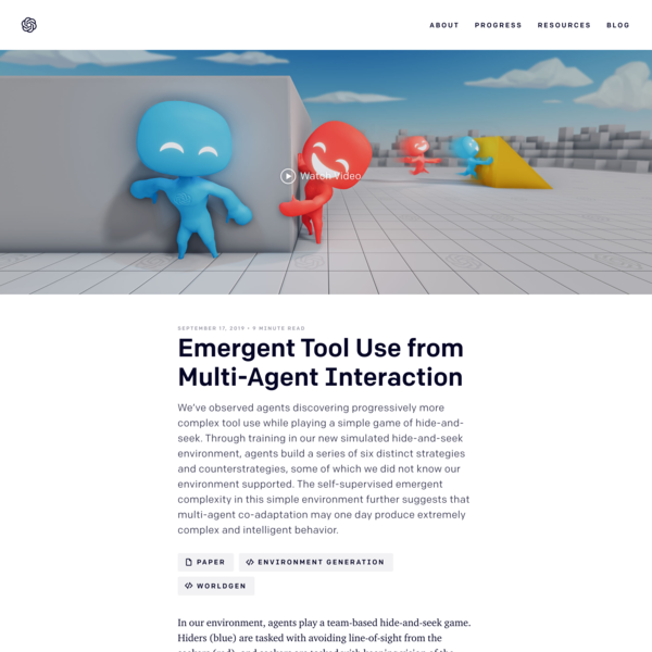 Emergent Tool Use from Multi-Agent Interaction