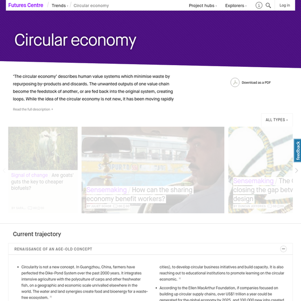 'The circular economy' describes human value systems which minimise waste by repurposing by-products and discards. The unwanted outputs of one value chain become the feedstock of another, or are fed back into the original system, creating loops. While the idea of the circular economy is not new, it has been moving rapidly towards the mainstream in the last few years.