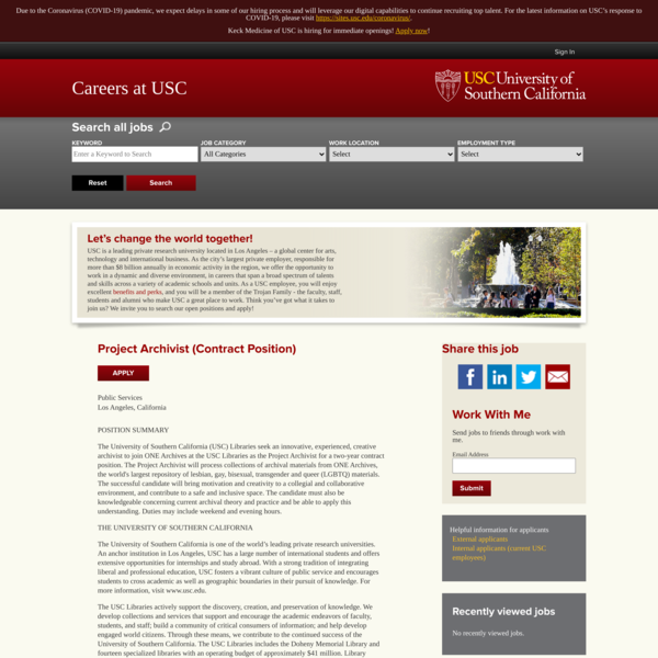 ONE Archives, USC, Project Archivist