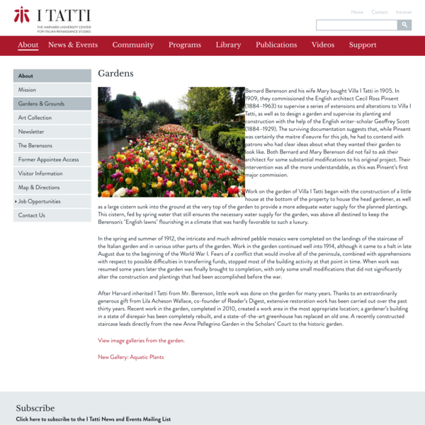 Gardens | I Tatti | The Harvard University Center for Italian Renaissance Studies
