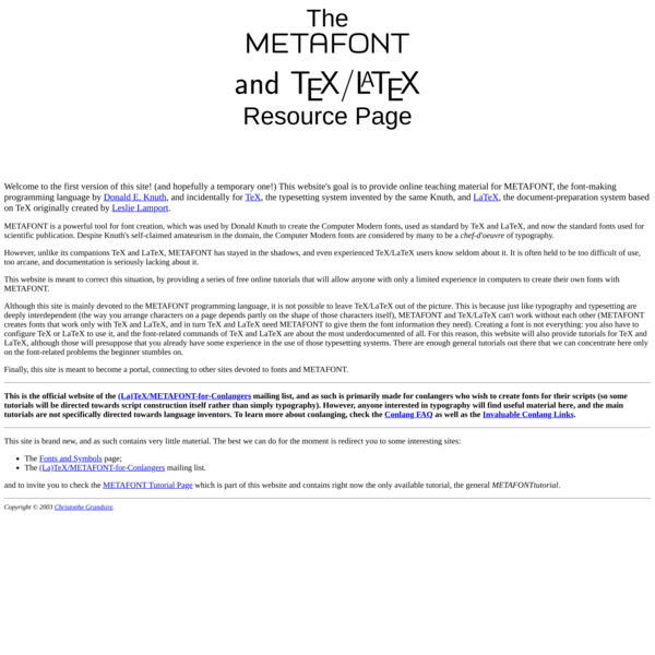 Welcome to the METAFONT and TeX/LaTeX Resource Page