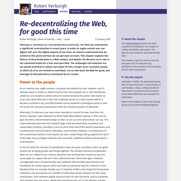 Re-decentralizing the Web, for good this time