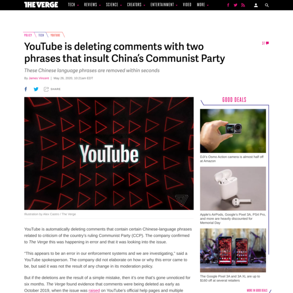 YouTube is deleting comments with two phrases that insult China's Communist Party