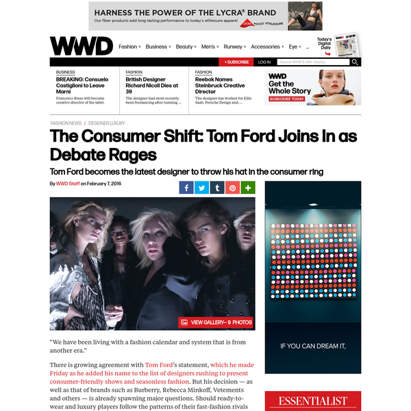 The Consumer Shift: Tom Ford Joins In as Debate Rages