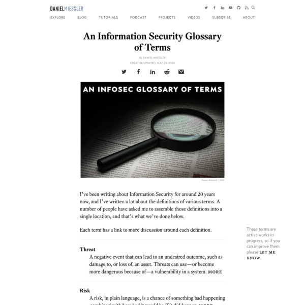 An Information Security Glossary of Terms | Daniel Miessler