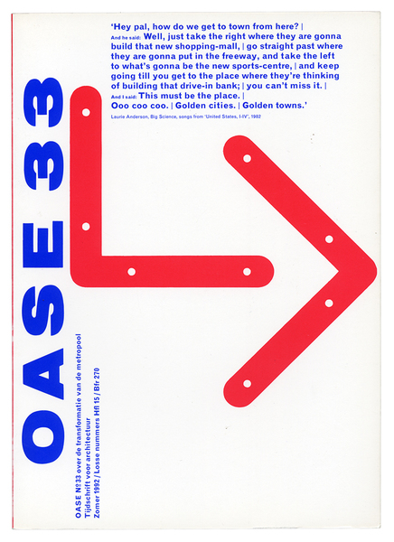 Cover of OASE Journal for Architecture, issue 33, originally published in 1992. Design by Karel Martens.