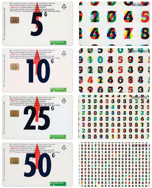 Karel Martens: Standard series telephone cards for Dutch PTT (reprint), 1996, printed plastic.