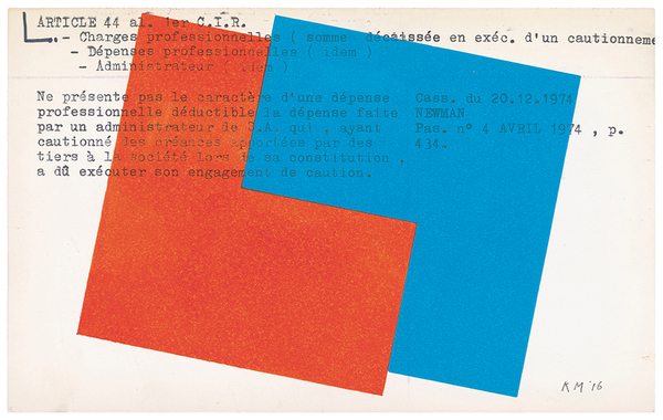 Karel Martens: Untitled, 2016, letterpress monoprint on found card, 7 by 5 inches.