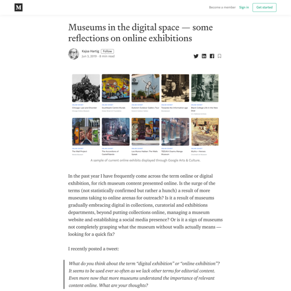 Museums in the digital space — some reflections on online exhibitions