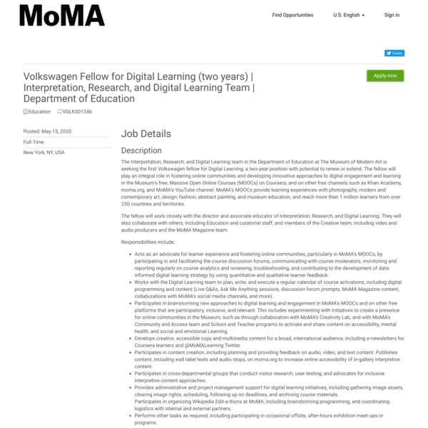 Volkswagen Fellow for Digital Learning (two years) | Interpretation, Research, and Digital Learning Team | Department of Edu...