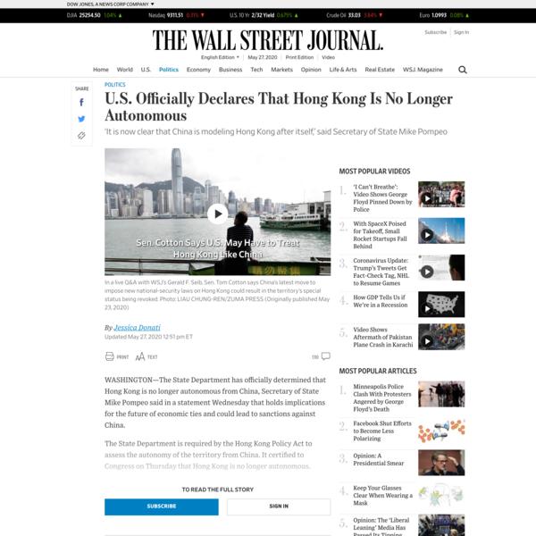U.S. Officially Declares That Hong Kong Is No Longer Autonomous