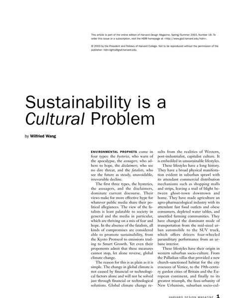 Sustainability is a Cultural Problem