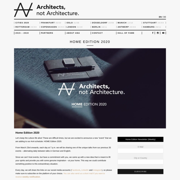 Home Edition 2020 | Architects, not Architecture.