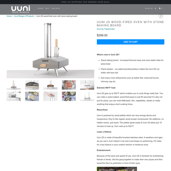 Uuni 2S wood-fired oven with stone baking board