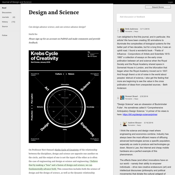 On Professor Neri Oxman's Krebs Cycle of Creativity of the relationship between the disciplines, design and science are opposite one another on the circle, and the output of one is not the input of the other as is often the case of engineering and design or science and engineering.