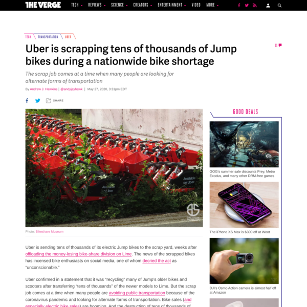 Uber is scrapping tens of thousands of Jump bikes during a nationwide bike shortage