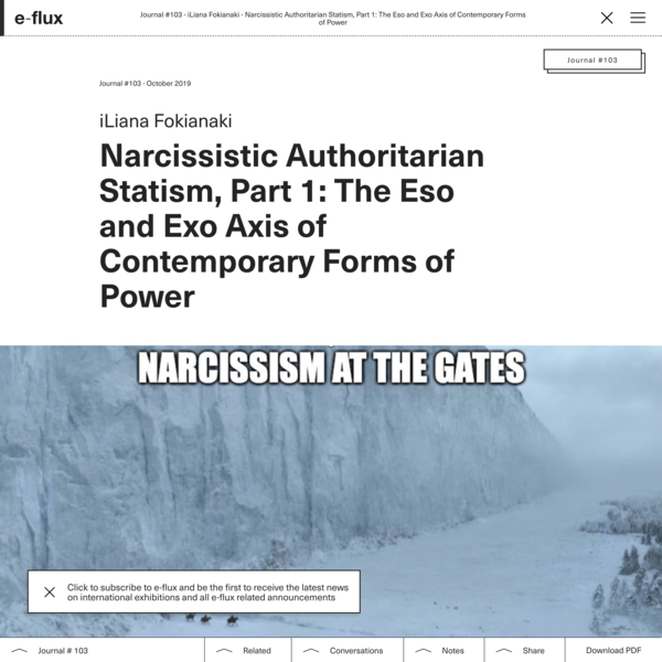 Narcissistic Authoritarian Statism, Part 1: The Eso and Exo Axis of Contemporary Forms of Power