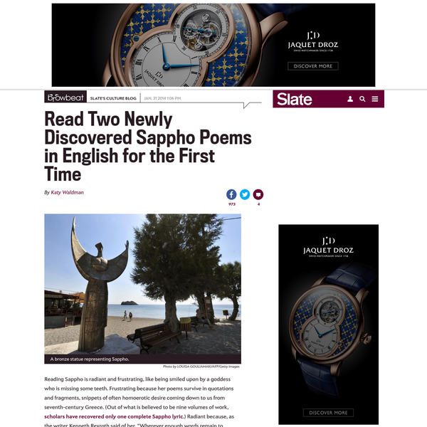 Read Two Newly Discovered Sappho Poems in English for the First Time