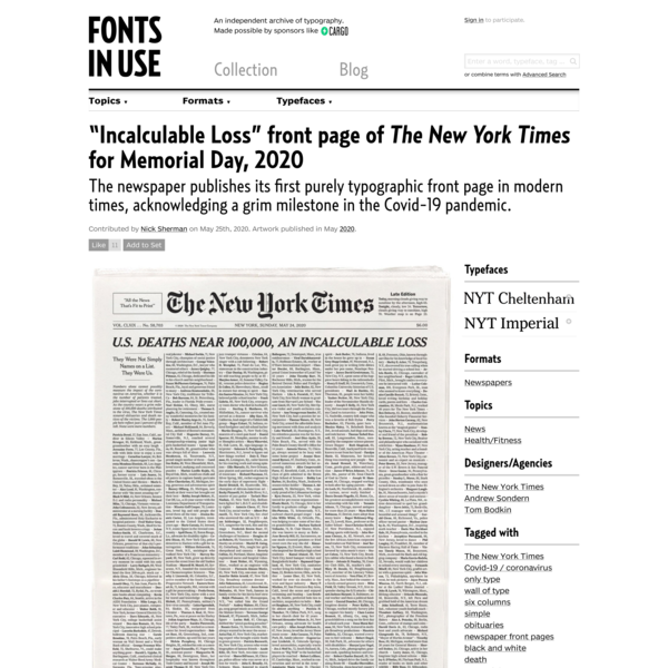 """""""Incalculable Loss"""" front page of The New York Times for Memorial Day, 2020"""