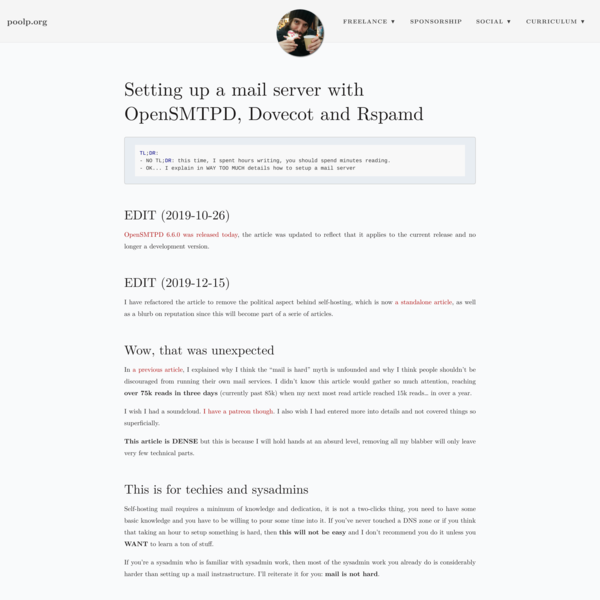 Setting up a mail server with OpenSMTPD, Dovecot and Rspamd