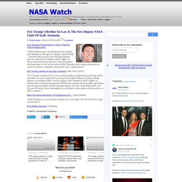 Eric Trump's Brother-In-Law Is The New Deputy NASA Chief Of Staff. Seriously. - NASA Watch