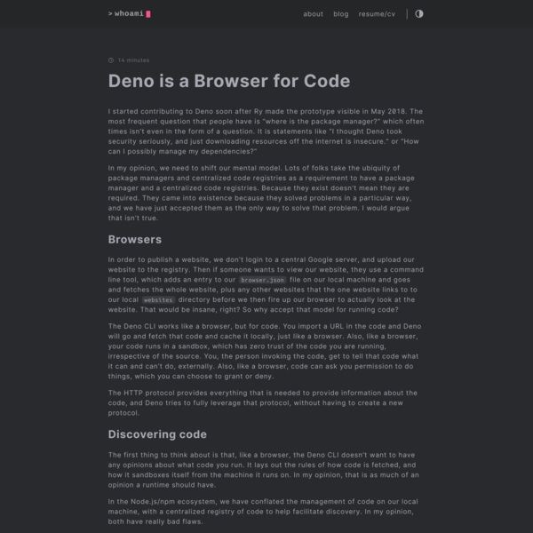 Deno is a Browser for Code