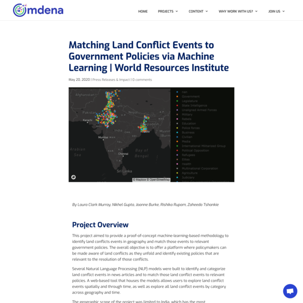 Matching Land Conflicts to Government Policies via Machine Learning