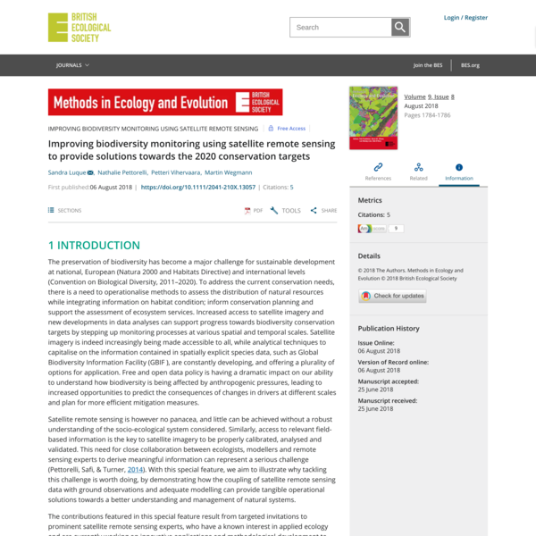 Improving biodiversity monitoring using satellite remote sensing to provide solutions towards the 2020 conservation targets