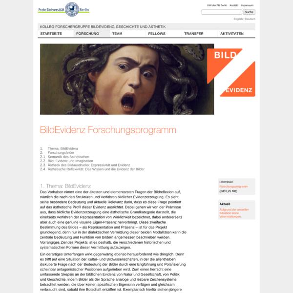 Forschung | Kolleg-Forschergruppe BildEvidenz