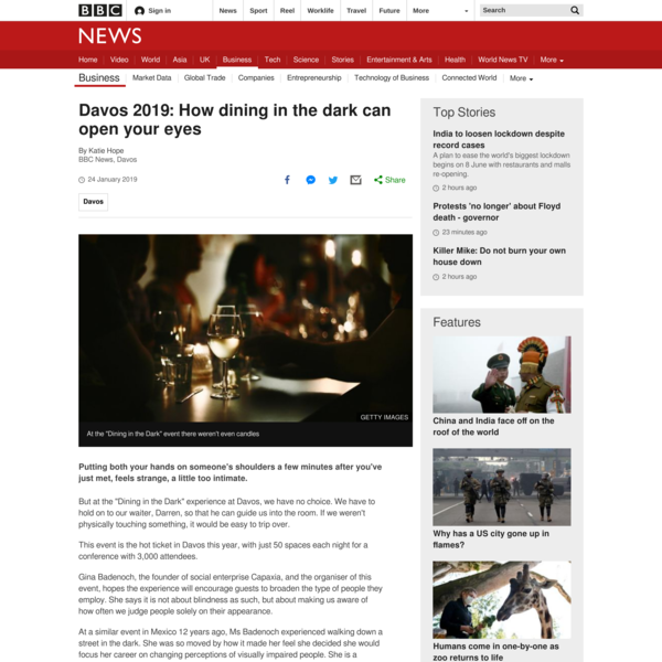 Why people in Davos are dining in the dark