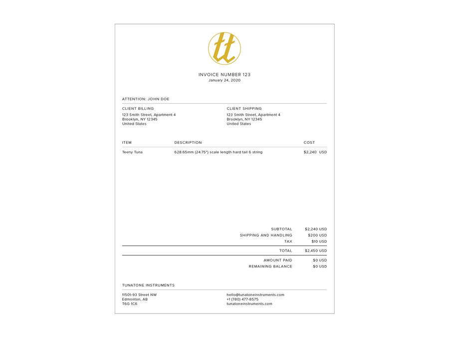Tunatone Invoice by Paras Memon