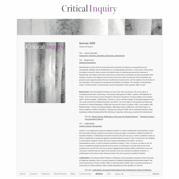 Summer 2009 - Volume 35 Issue 4 - Critical Inquiry