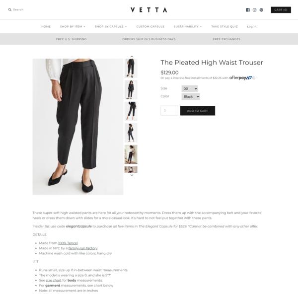 The Pleated High Waist Trouser - VETTA