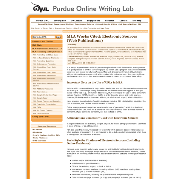 MLA (Modern Language Association) style is most commonly used to write papers and cite sources within the liberal arts and humanities. This resource, updated to reflect the MLA Handbook (8th ed.), offers examples for the general format of MLA research papers, in-text citations, endnotes/footnotes, and the Works Cited page.