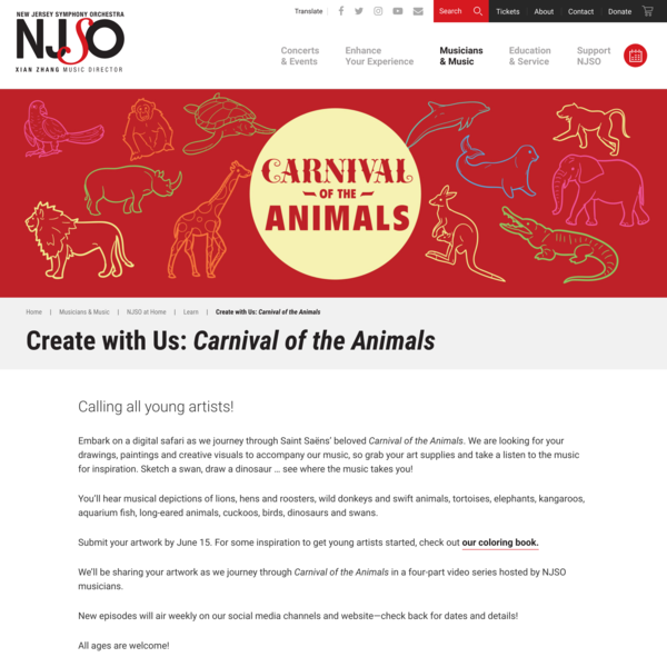 <i>Create with Us: Carnival of the Animals</i> | New Jersey Symphony Orchestra